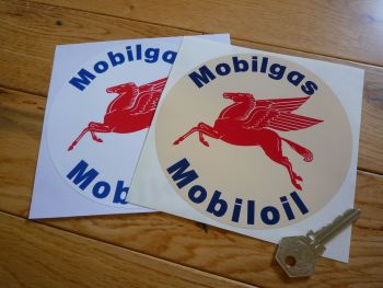 "Mobil Mobilgas Mobiloil Pegasus Circular Shaped Stickers. 3.5"" or 5.5"" Pair."