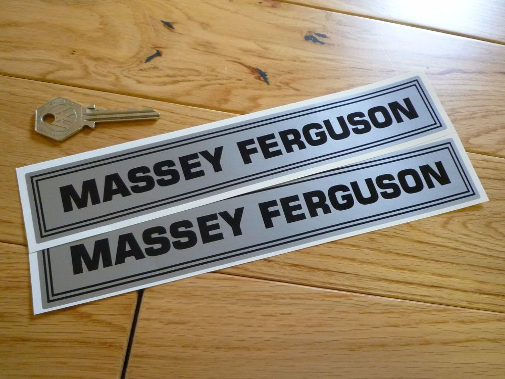 "Massey Ferguson Black & Silver Oblong Stickers. 9"" Pair."