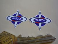 """Marcos Logo Shaped Stickers. 1"""" or 2"""" Pair."""