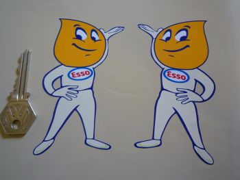 "Esso Oil Drip Boy Handed & Shaped Stickers.  4"" Pair."