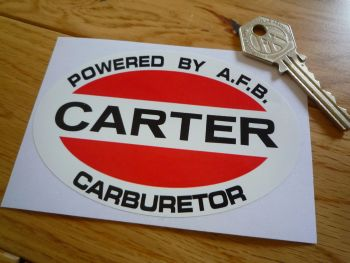 "Carter Carburetor Oval Sticker. 4.25""."