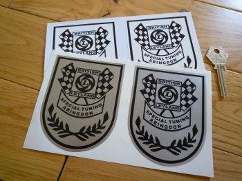 "British Leyland Special Tuning Abingdon Black & White or Black & Silver Shield Stickers. 4"" Pair."