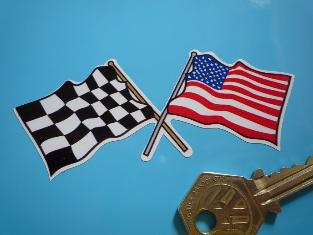 "Crossed USA Stars & Stripes & Chequered Flag Sticker. 4"" or 7""."