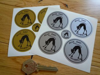 Ally Cat Wheels Black & Silver or Black & Gold Circular Stickers. Set of 4. 40mm or 48mm.