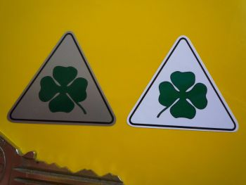 "Alfa Romeo Cloverleaf Triangle Stickers. Colour. 1.5"", 2.75"", 4"" or 6"" Pair."