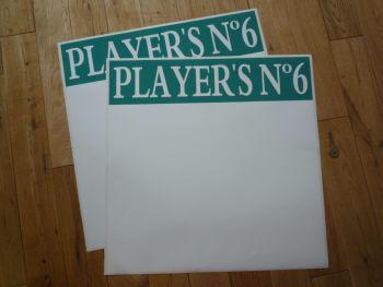 """Player's No.6 Race Car Door Panel Stickers. 19.5"""" Pair."""