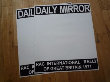 "Daily Mirror RAC International Rally 1971 Door Panel Stickers. 18"" Pair."