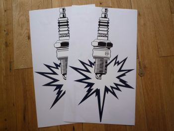 """Bosch Spark Plug with Bang Old Fashioned Stickers. 19.5"""" Pair."""
