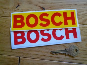 """Bosch Red & White or Red & Yellow Oblong Stickers. 6"""" Pair."""