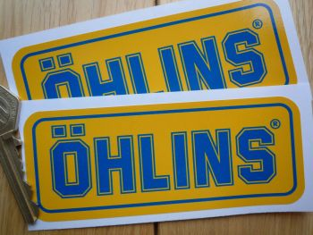 """Ohlins Darker Blue & Yellow Oblong Stickers. 4.75"""" Pair"""