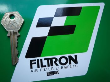"Filtron, Black, Green & White Parallelogram Stickers. 5"" Pair."