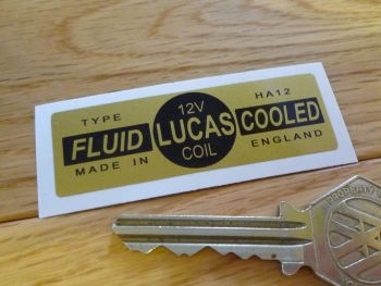 Lucas Coil Sticker. Fluid Cooled Gold. HA12 12V. A.