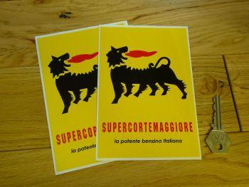 "Supercortemaggiore 'benzina Italiana' Stickers. 6"" Pair."