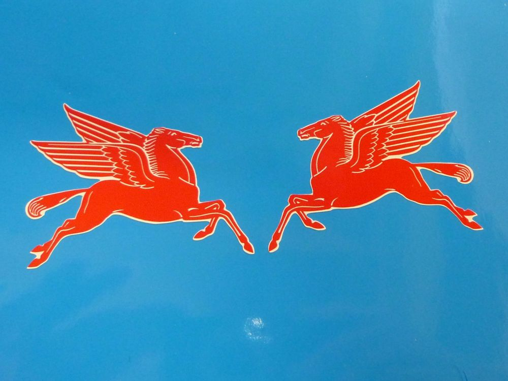 "Mobil Earlier Pegasus Shaped Stickers. 16"" Pair."