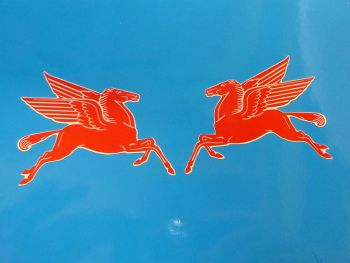 "Mobil Earlier Pegasus Shaped Stickers. 16"" Pair."