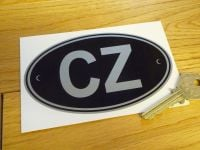"CZ Czech Republic Black & Silver ID Plate Sticker. 5""."