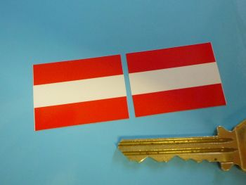 Austria Flag Oblong Stickers. 33mm Pair.