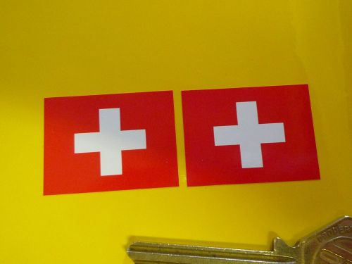 Swiss Flag Oblong Stickers. 33mm Pair.
