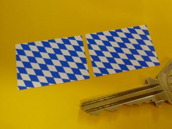 Bavaria Flag Oblong Stickers. 33mm Pair.
