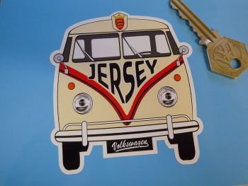 "Jersey Volkswagen Campervan Travel Sticker. 3.5""."