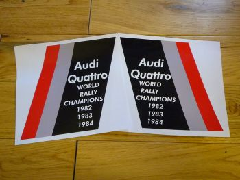"Audi Quattro World Rally Champions Stickers. 11"" Pair."