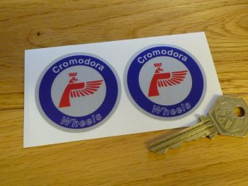 Cromodora Wheels Round Stickers. Red, Blue & Brushed Foil. 50mm or 60mm Pair.