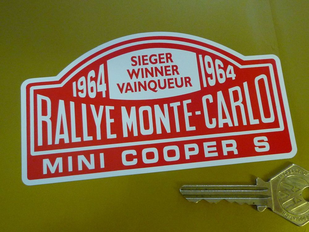 Mini Cooper S Monte Carlo Rally Winner Sticker. Various Years. 5