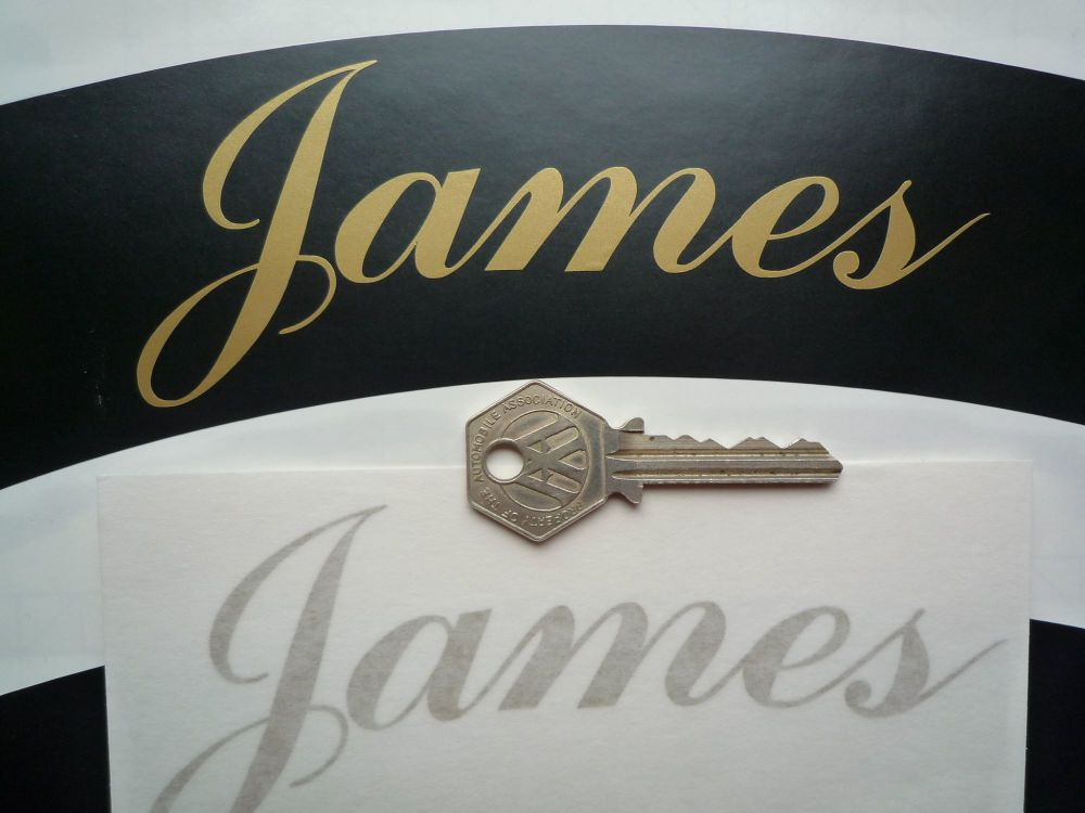 "James Curved Gold Cut Text Sticker for Motorcycle Front Number Plate. 5.75""."