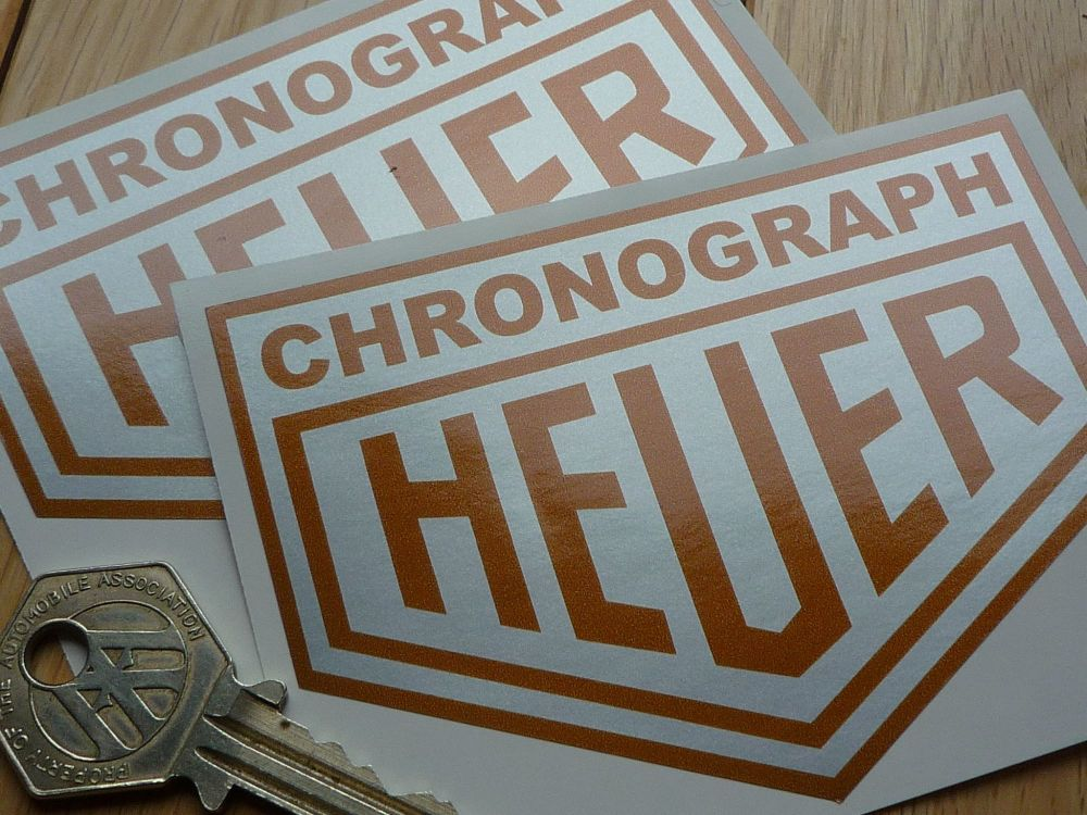 """Chronograph Heuer Silver & Gold Stickers. 4"""" or 6"""" Pair."""