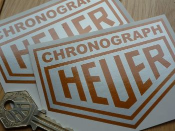 "Chronograph Heuer Silver & Gold Stickers. 4"" or 6"" Pair."