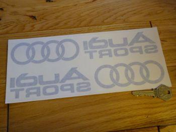 "Audi Sport with Hoops Cut Vinyl Inside Window Stickers. 10"" Pair."