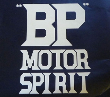 "BP Motor Spirit  Cut Text Petrol Pump Sticker. 16""."