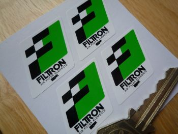 "Filtron Black, Green & White Parallelogram Stickers. 1"". Set of 4."