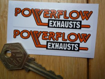 "Powerflow Exhausts Style Stickers. 3"" Pair."