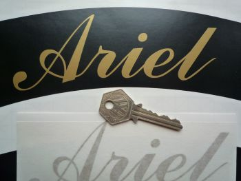 "Ariel Curved Gold Cut Text Sticker for Motorcycle Front Number Plate. 6""."