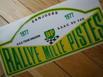 "Rallye Mille Pistes BP 1977 Rally Plate Sticker. 16""."