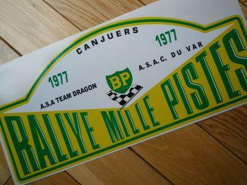 "Rallye Mille Pistes BP 1977 Rally Plate Sticker. 6""."