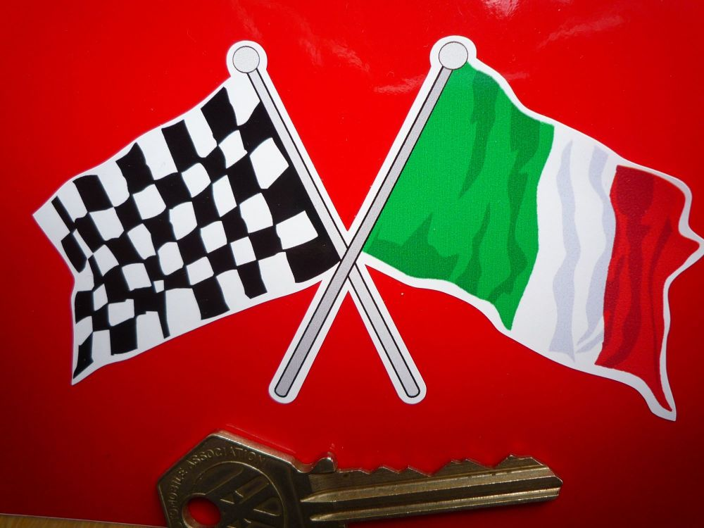 "Crossed Italian & Chequered Flag Sticker. 4""."