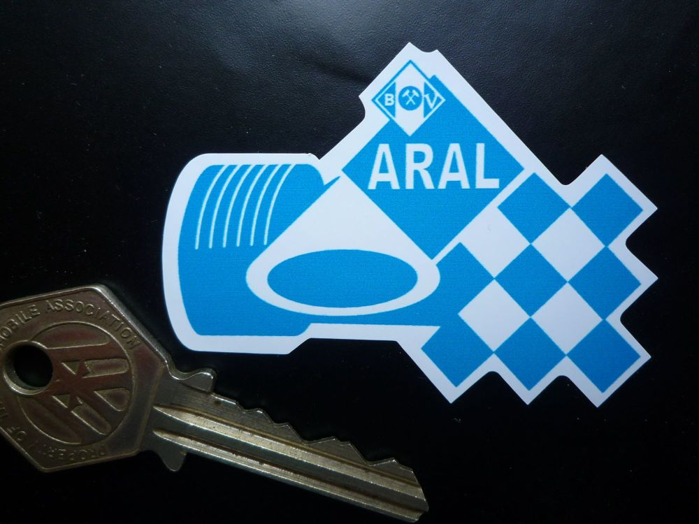 Aral German Fuel Racing Car Style Shaped Sticker. 65mm.