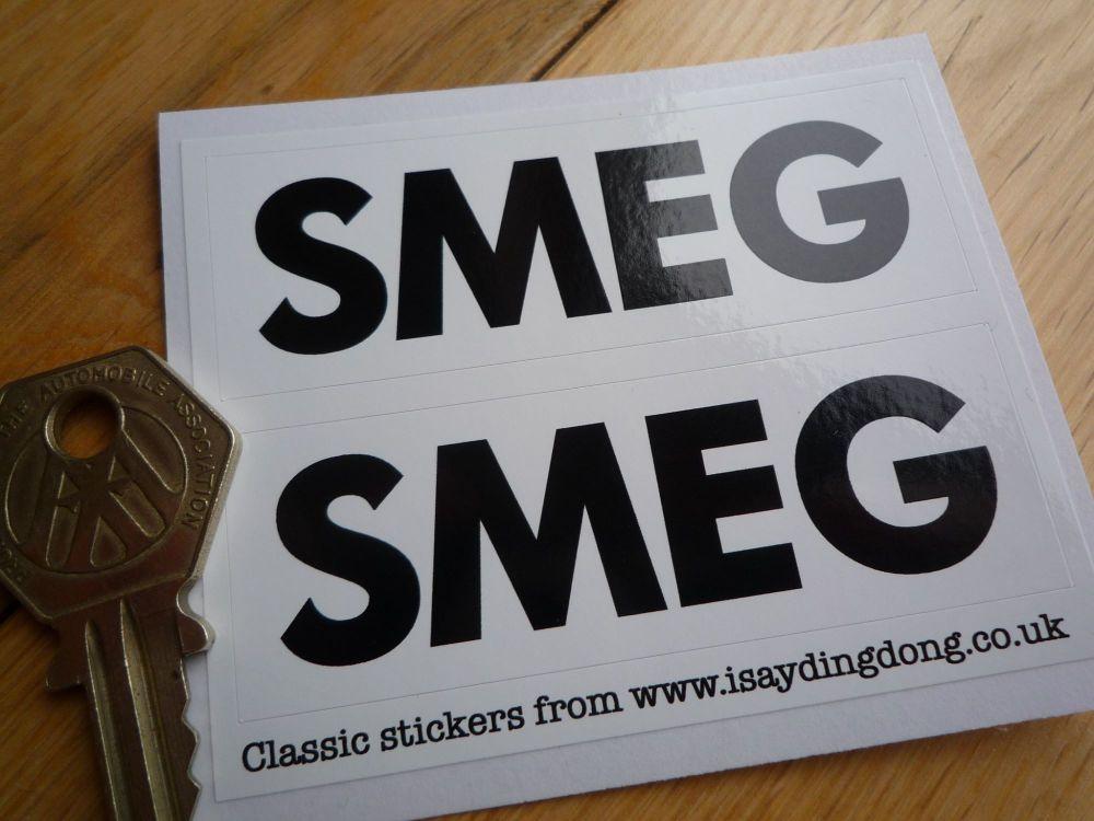 "Smeg Black & White Oblong Stickers. 3"" Pair."