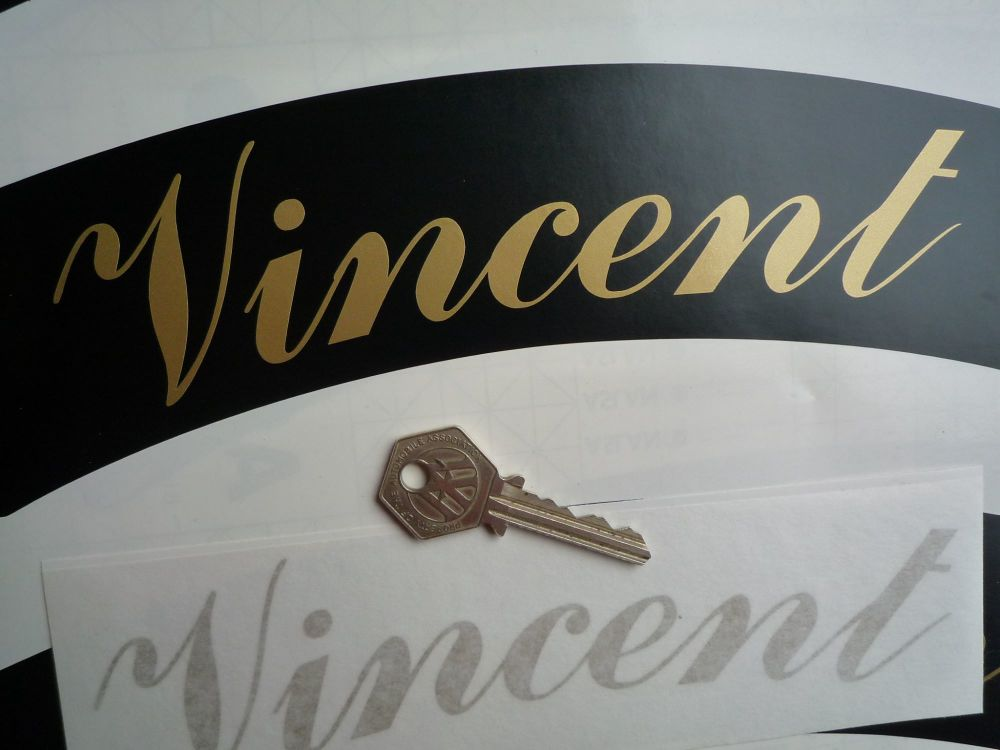 "Vincent Curved Gold Cut Text Sticker for Motorcycle Front Number Plate. 8""."