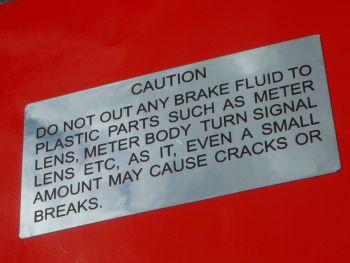 Suzuki GT750, 550, 380, 250, 185 etc. 'Caution Brake Fluid on Plastic Parts' Chrome Foil Sticker. 66mm.