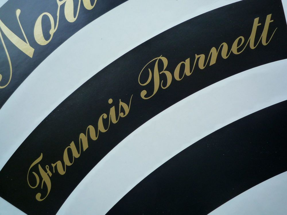 "Francis Barnett Curved Gold Cut Text Sticker for Motorcycle Front Number Plate. 10""."