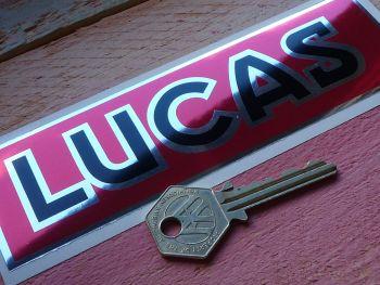 "Lucas Black, Red, & Foil Oblong Sticker. 6""."