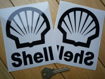 "Shell Logo & Rounded Text Black & Clear Stickers. 5.25"" Pair."