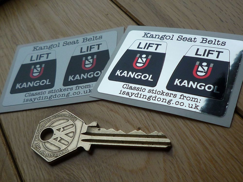 "Kangol Seat Belts Lift Style Shaped Stickers. 1"" Pair."