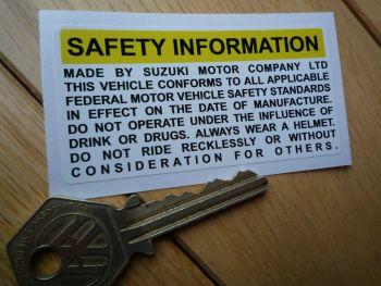 Suzuki GT750 & GT Series Safety Information Petrol/Gas Tank Sticker. 75mm.