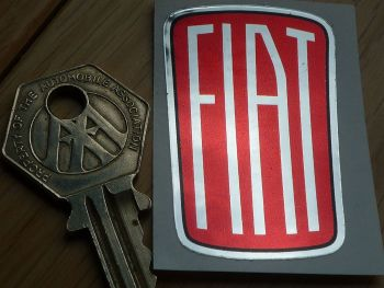 "Fiat 1932 - 1968 Style Logo Shaped Foil Sticker. 2""."