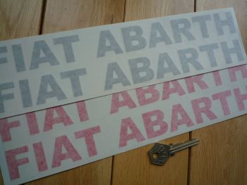 """Fiat Abarth Cut Text Stickers. Various Colours. 12"""" Pair."""