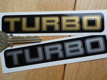 "Turbo Black & Silver or Black & Gold Sticker. 4""."